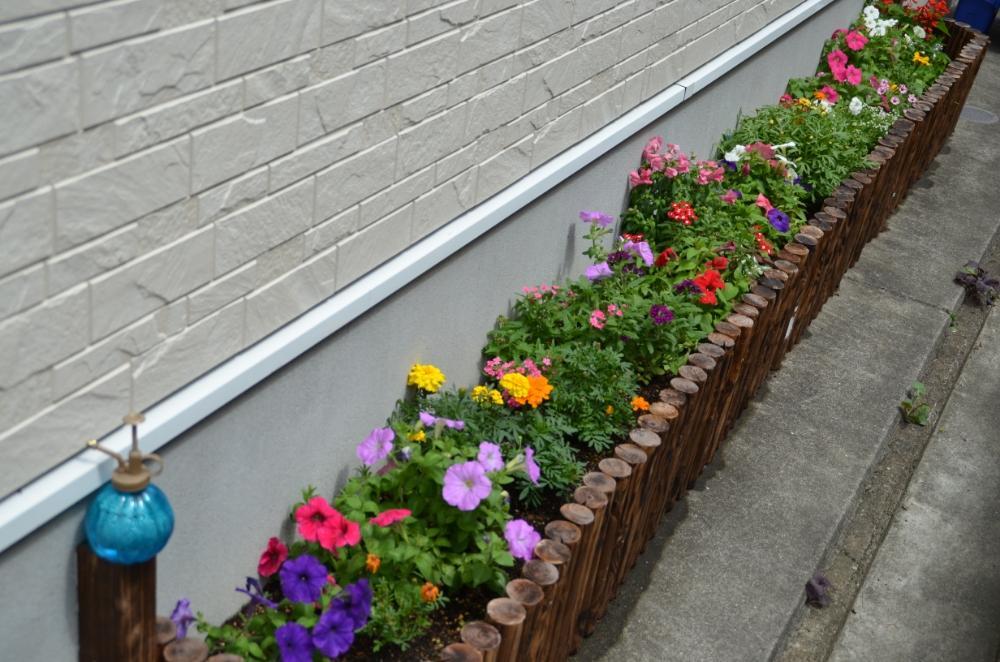 コンクリート の 上 に 花壇